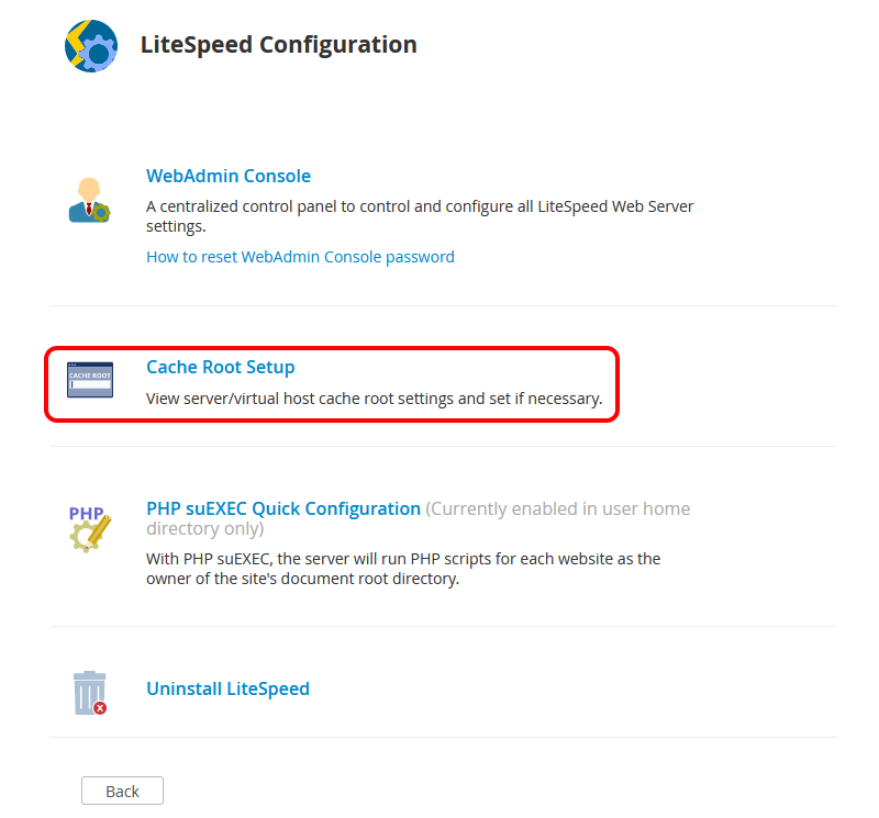 "!WHM Plugin ""LiteSpeed Configuration"" Page With ""Cache Root Setup"" Section Circled"