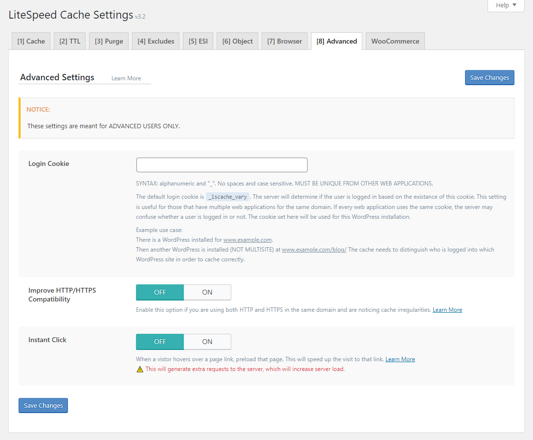 !LSCWP Cache Section Advanced Tab