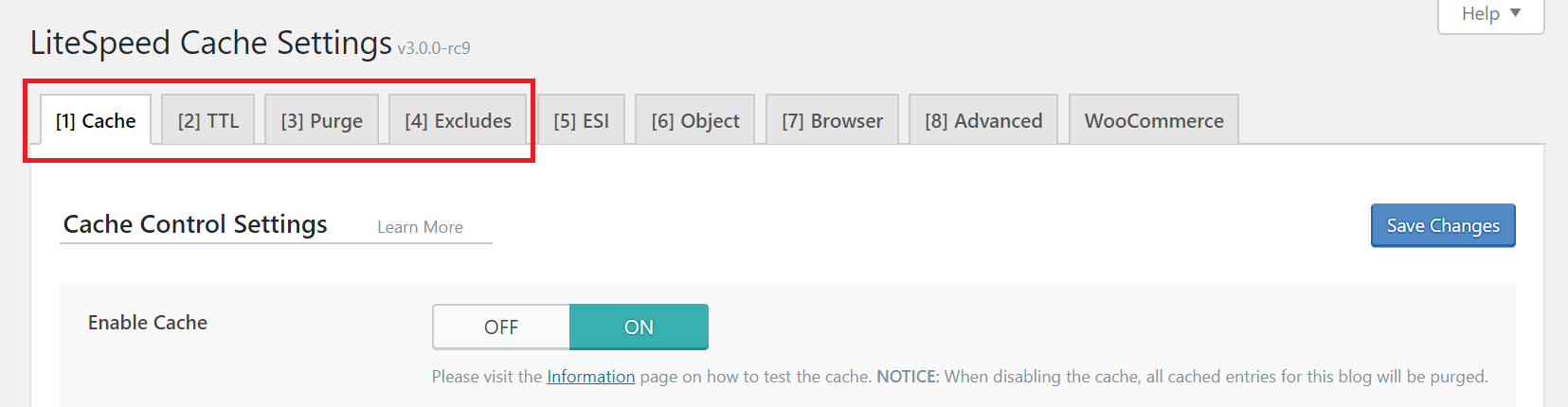 !LSCWP Basic Cache Tabs