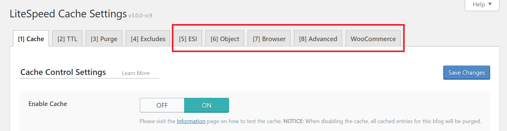 !LSCWP Other Cache Tabs