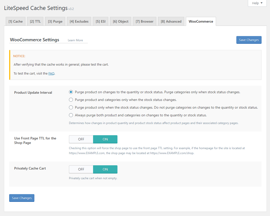 !LSCWP Cache Section WooCommerce Tab
