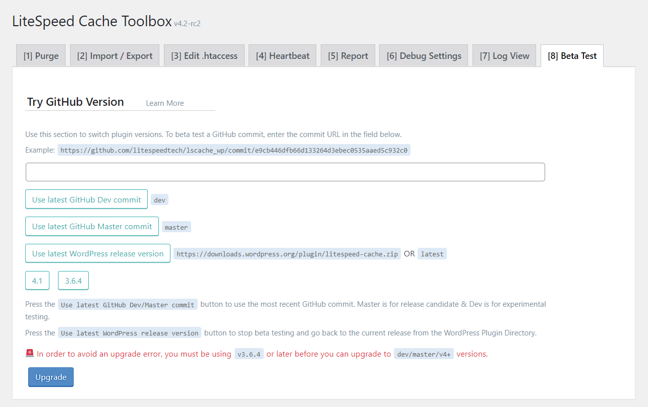 !LSCWP Toolbox Section Beta Test Tab